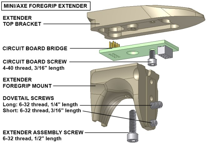 Mini/Axe foregrip extender diagram